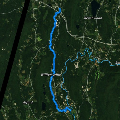 Fly fishing map for Williams River, Massachusetts