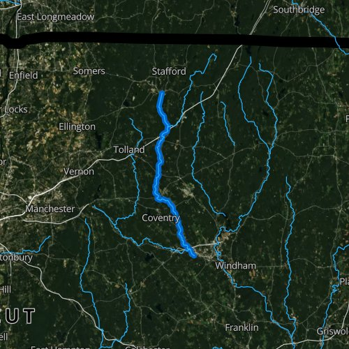Fly fishing map for Willimantic River, Connecticut