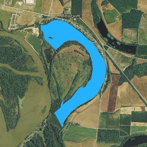 Fly fishing map for Willow Beach Lake, Arkansas