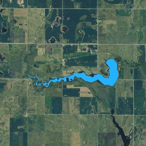 Fly fishing map for Willow Creek Lake, South Dakota