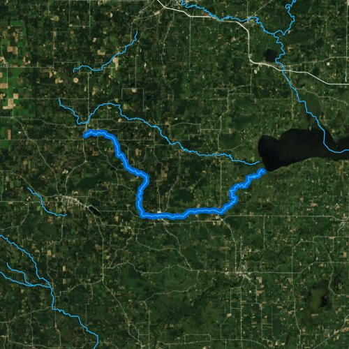 Fly fishing map for Willow Creek, Wisconsin