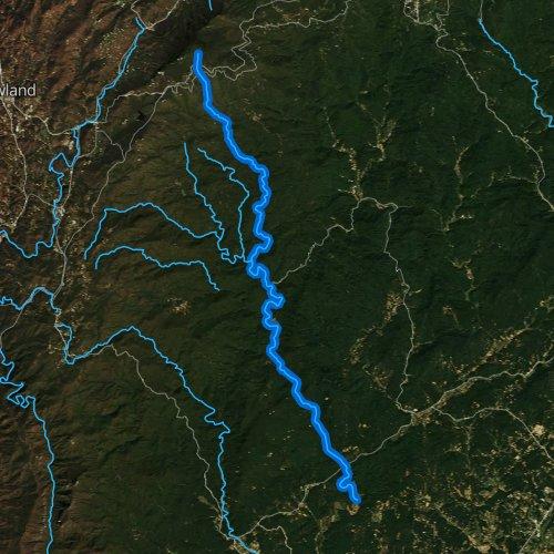 Fly fishing map for Wilson Creek, North Carolina
