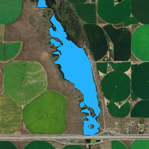 Fly fishing map for Winchester Wasteway, Washington