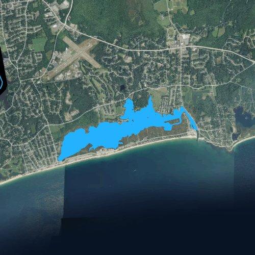 Fly fishing map for Winnapaug Pond, Rhode Island