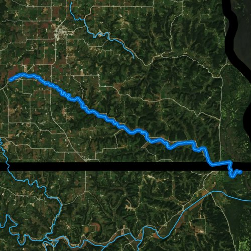 Fly fishing map for Winnebago Creek, Minnesota