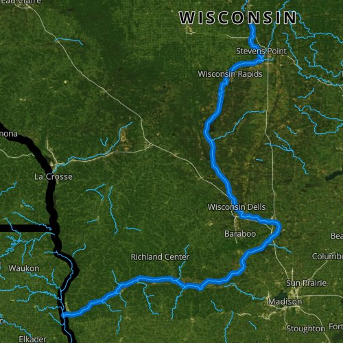 Fly fishing map for Wisconsin River: Lower, Wisconsin