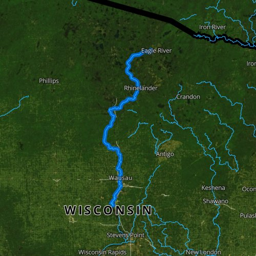 Fly fishing map for Wisconsin River: Upper, Wisconsin