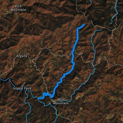 Fly fishing map for Wolf Creek, North Carolina