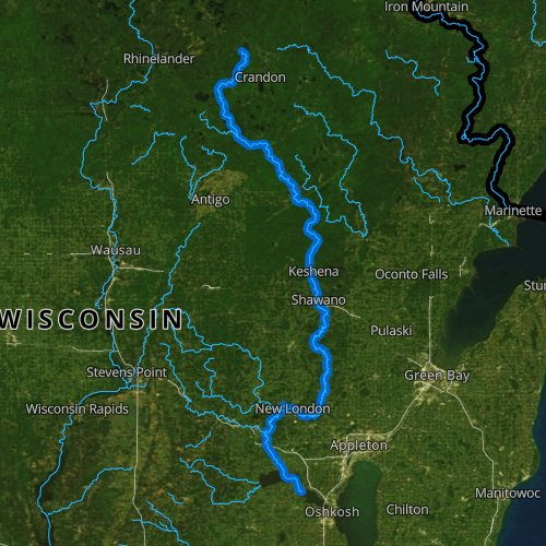 Fly fishing map for Wolf River, Wisconsin