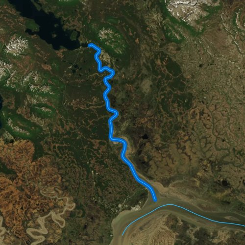 Fly fishing map for Wood River, Alaska