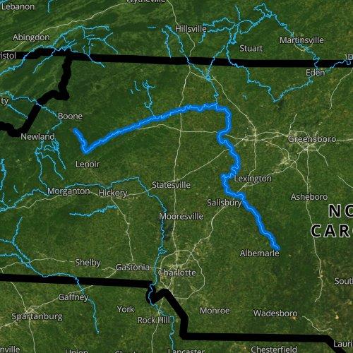 Fly fishing map for Yadkin River, North Carolina
