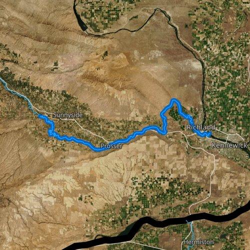 Fly fishing map for Yakima River: Lower, Washington
