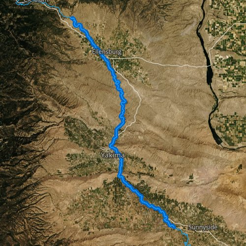 Fly fishing map for Yakima River: Middle, Washington