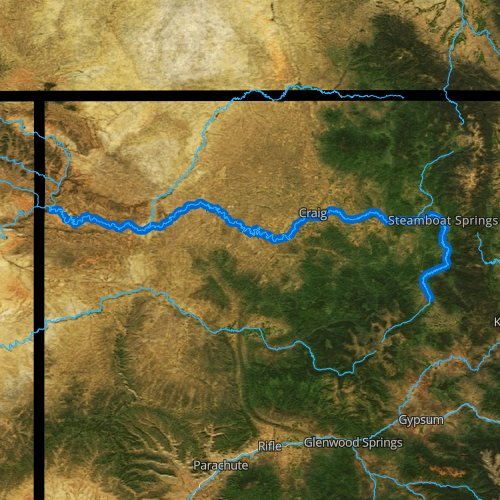 Fly fishing map for Yampa River, Colorado