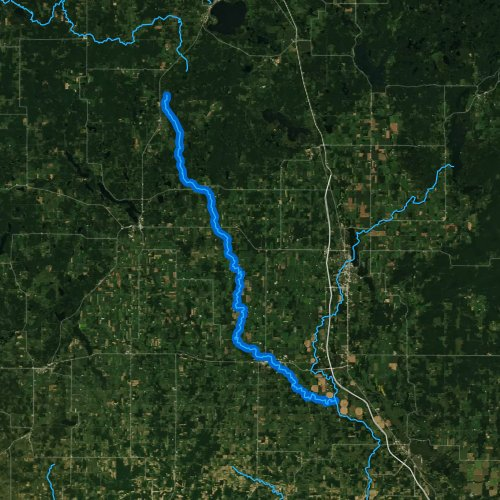 Fly fishing map for Yellow River, Wisconsin