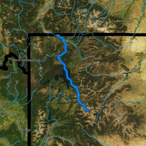 Fly fishing map for Yellowstone River, Wyoming