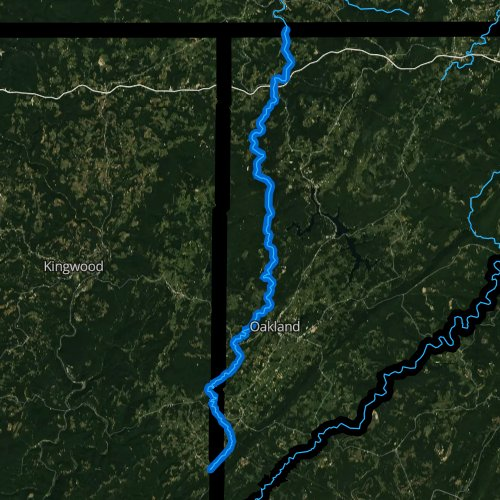 Fly fishing map for Youghiogheny River, Maryland